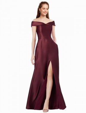 Best A-Line Strapless Off The Shoulder  Cap Sleeves Satin Bridesmaid Dress Toronto