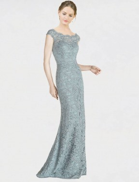 Blue Mermaid Fit and Flare Off the Shoulder  Cap Sleeves Lace Bridesmaid Dress Toronto