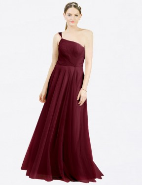 Burgundy A-Line Off the Shoulder  Sleeveless Tulle Bridesmaid Dress Toronto