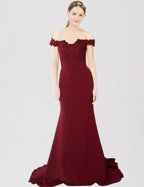 Burgundy Gold Mermaid Sweetheart Off the Shoulder Sweep Train  Stretch Crepe & Lace Bridesmaid Dress Toronto