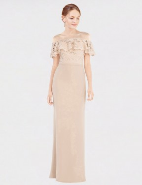 Best Champagne A-Line Off the Shoulder  Sleeveless Chiffon & Lace Bridesmaid Dress Toronto
