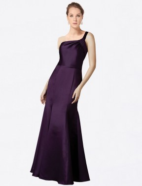 Best Grape Fit and Flare One Shoulder  Sleeveless Satin Bridesmaid Dress Toronto