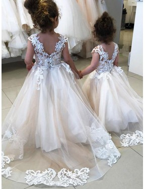 Ivory Ball Gown Chapel Train Sleeveless Lace & Tulle Flower Girl Dress Toronto