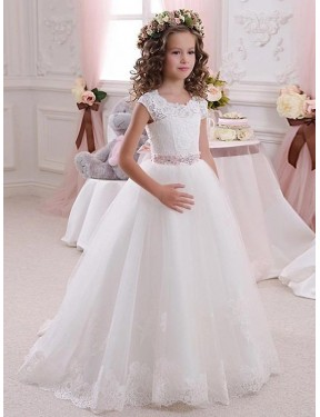 Ivory Ball Gown High Neck  Lace & Tulle Flower Girl Dress Toronto