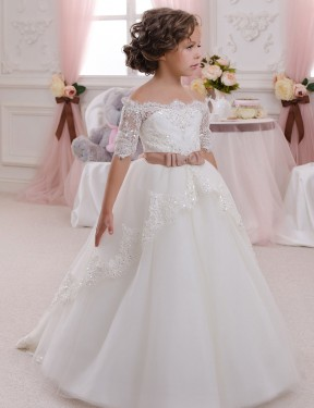 Ivory Ball Gown High Neck  Short Sleeve Lace & Tulle Flower Girl Dress Toronto