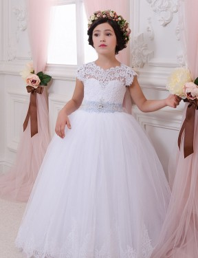 Ivory Ball Gown Sweetheart Chapel Train Cap Sleeve Lace & Tulle Flower Girl Dress Toronto