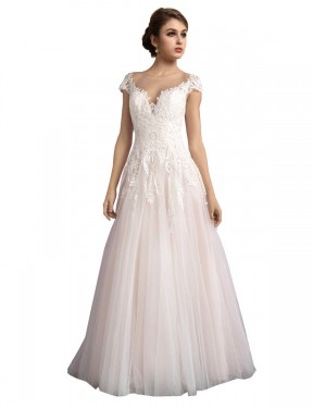 Best Ivory & Champagne A-Line Illusion Cathedral Train Cap Sleeves Tulle Wedding Dress Toronto