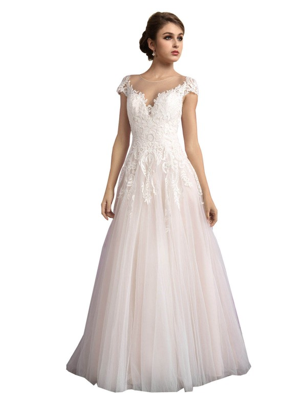 Ivory & Champagne A-Line Illusion Cathedral Train Cap Sleeves Tulle Wedding Dress Toronto
