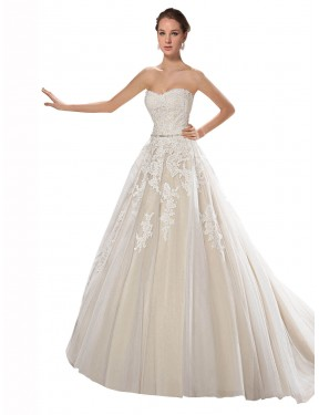 Ivory & Champagne A-Line Strapless Chapel Train Sleeveless Tulle & Lace Wedding Dress Toronto