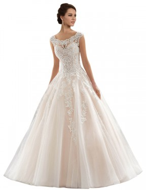 Ivory & Champagne Ball Gown Bateau Chapel Train Cap Sleeves Lace & Tulle Wedding Dress Toronto