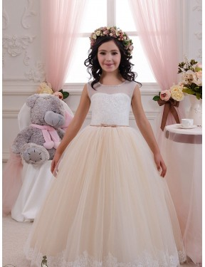 Ivory & Champagne Ball Gown Sweetheart  Sleeveless Lace & Tulle Flower Girl Dress Toronto