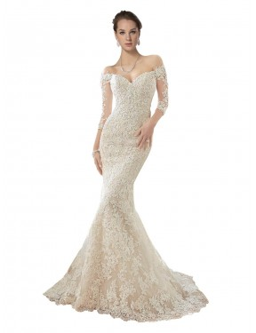 Ivory & Champagne Mermaid Off the Shoulder Chapel Train Long Sleeves Lace & Tulle Wedding Dress Toronto