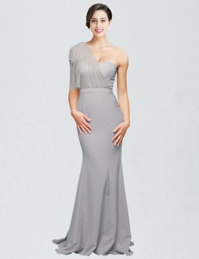 Oyster Silver Mermaid Sweetheart One Shoulder Sweep Train  Stretch Crepe Bridesmaid Dress Toronto