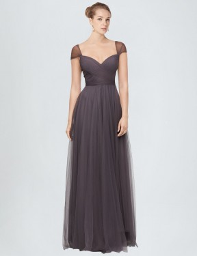 Best Pewter A-Line Sweetheart  Cap Sleeves Tulle Bridesmaid Dress Toronto