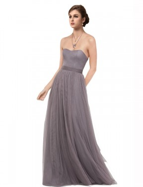 Best Pewter A-Line Sweetheart Strapless  Sleeveless Tulle Bridesmaid Dress Toronto