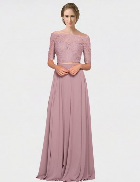 Best Pink A-Line Off the Shoulder  Short Sleeves Chiffon & Lace Bridesmaid Dress Toronto