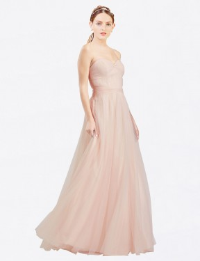 Best Pink A-Line Sweetheart Strapless  Sleeveless Tulle Bridesmaid Dress Toronto