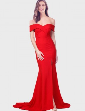 Red Mermaid Sweetheart  Off the Shoulder Stretch Crepe Bridesmaid Dress Toronto