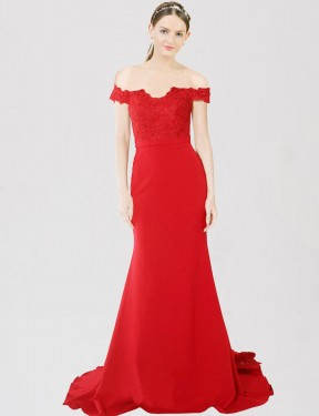 Red Mermaid Sweetheart Off the Shoulder Sweep Train  Stretch Crepe & Lace Bridesmaid Dress Toronto
