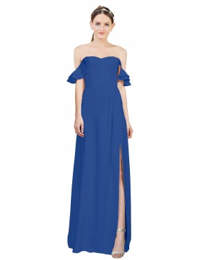 Best Royal Blue A-Line Off the Shoulder Sweetheart  Sleeveless Stretch Crepe Bridesmaid Dress Toronto