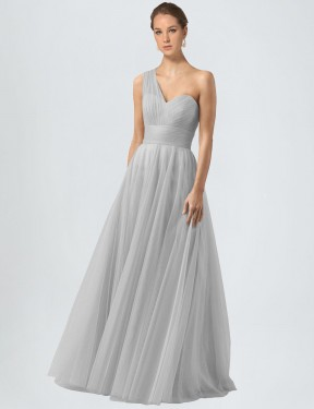 Silver A-Line One Shoulder  Sleeveless Tulle Bridesmaid Dress Toronto