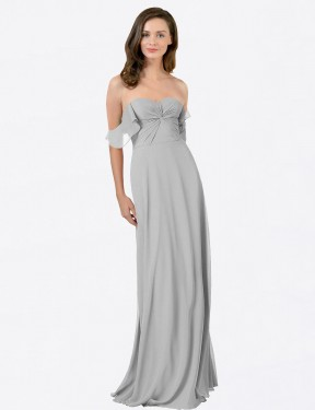 Silver A-Line Strapless Sweetheart  Off the Shoulder Chiffon Bridesmaid Dress Toronto
