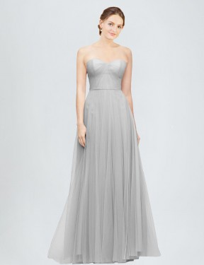 Best Silver A-Line Sweetheart  Sleeveless Tulle Bridesmaid Dress Toronto