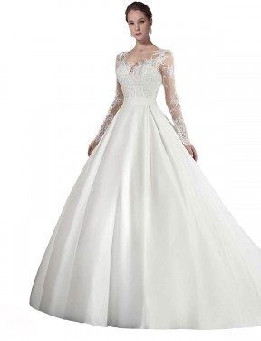 White A-Line Illusion Cathedral Train Long Sleeves Satin & Lace Wedding Dress Toronto