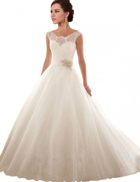 White Ball Gown Off the Shoulder Chapel Train Sleeveless Lace & Tulle Wedding Dress Toronto